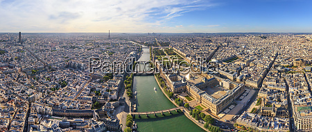 aerial view of the river seine