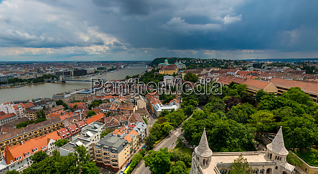 aerial view of budapest during cloudy