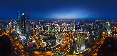 aerial view of the city shanghai