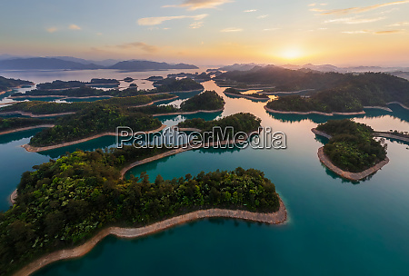 aerial view of qiandao lake the