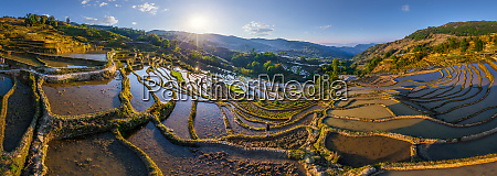 panoramic aerial view farmer on the