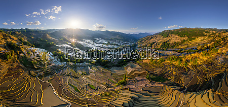 panoramic aerial view of the yuanyang