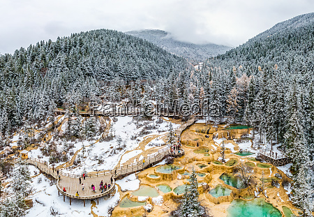 aerial view of tourist visiting huanglong