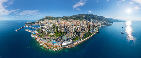 panoramic aerial view of monaco cityscape