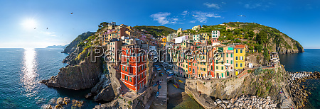panoramic aerial view of riomaggiore italy