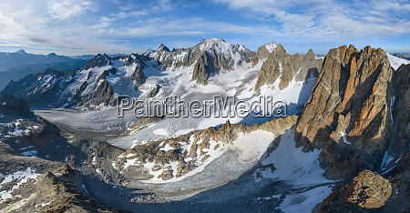 panoramic aerial view of mont blanc