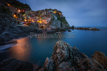 aerial view of manarola during the