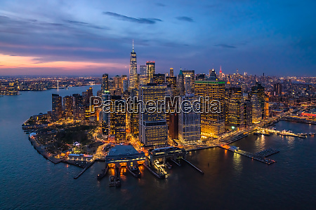 aerial view of manhattan during the