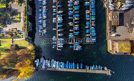 aerial view of marina at lucerne