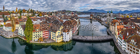 aerial view of lucerne old town
