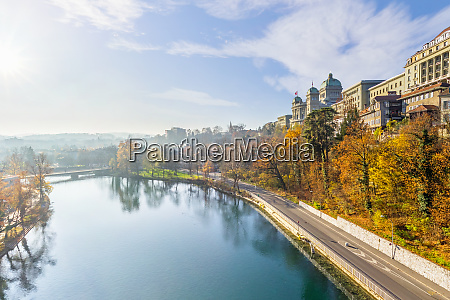 aerial view of aare river at