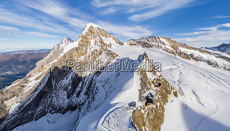 aerial view of jungfrau mountain chain