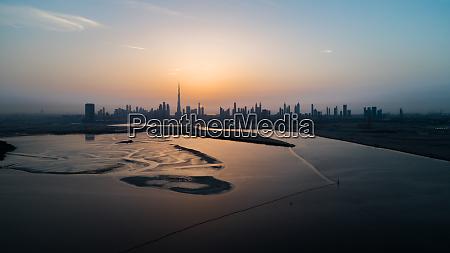 aerial view of dubai skyscrapers at
