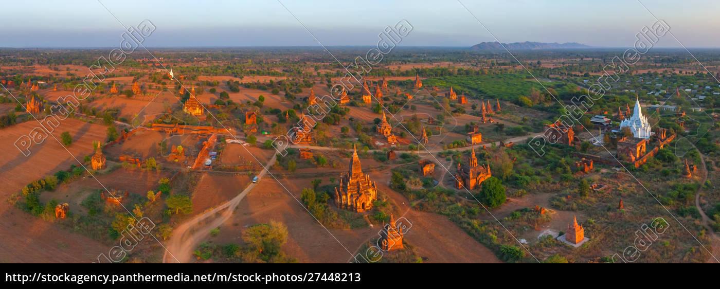 panoramic, aerial, view, of, bagan, , myanmar - 27448213