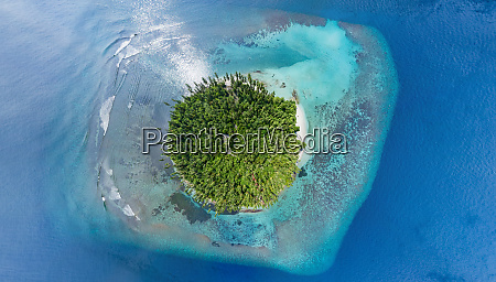 aerial view of isolated natural island