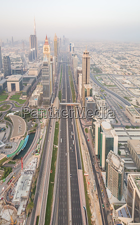 aerial view of long roads in