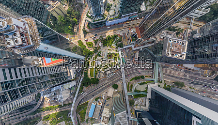 aerial view above downtown hong kong