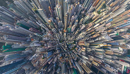 aerial view above hong kong residential