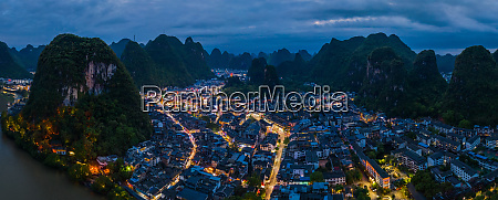 aerial view of guilin mountains surrounding