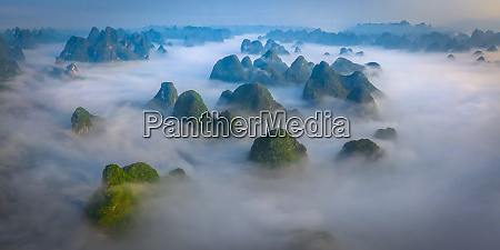 aerial view of guilin mountains during