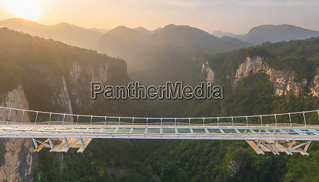 aerial view of zhangjiajie glass bridge