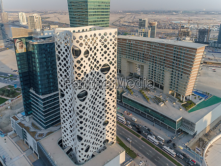aerial view of design skyscrapers in