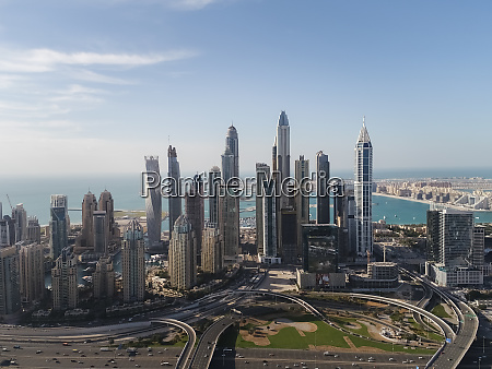 aerial view of skyscrapers and sea