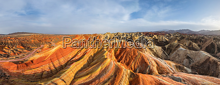 panoramic aerial view of colourful mountains