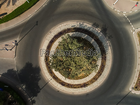aerial view of a roundabout in