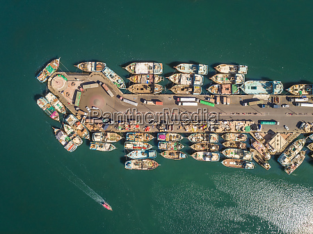 aerial view of wooden boats in