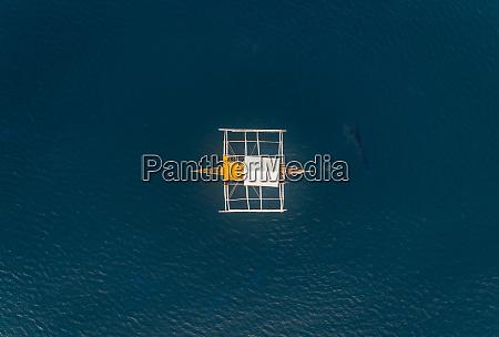 aerial view of single filipino fishing