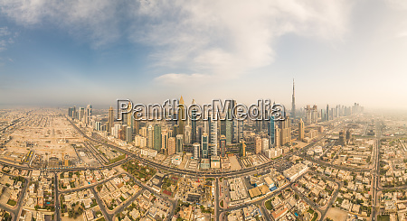 aerial panoramic view of dubai skyscrapers