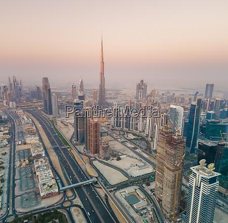 aerial view of burj khalifa tower