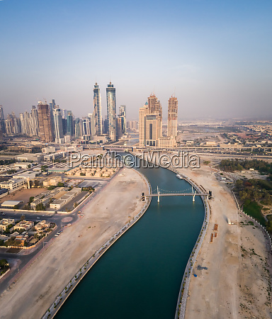 aerial view of dubai canal and