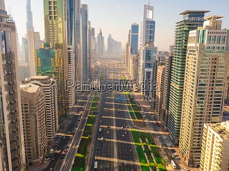 aerial view of multi lanes highway