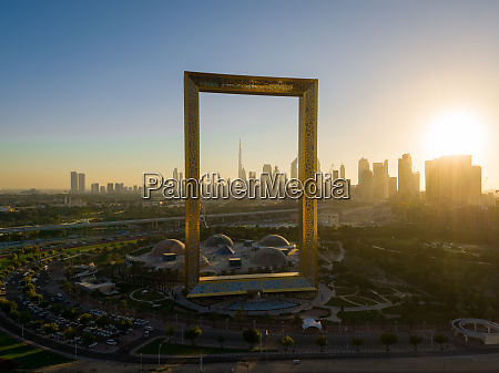 aerial view of dubai frame landmark