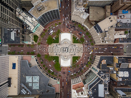 aerial view of multilane roundabout downtown