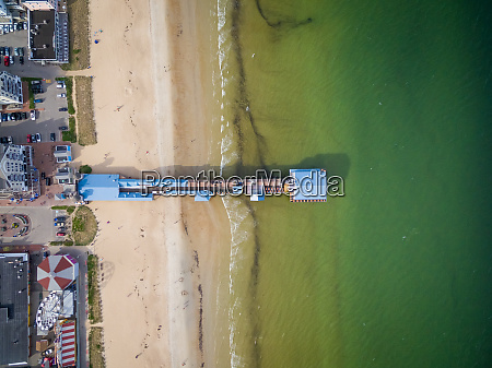 aerial view of colorful pier at