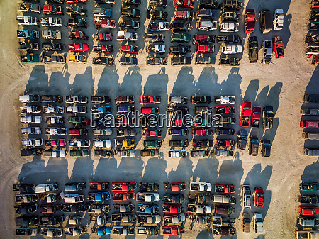 aerial view of old cars parked