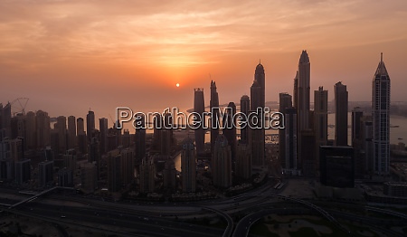 aerial view of dubai towers with