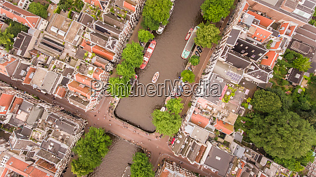 aerial view of canal in amsterdam