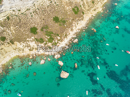 aerial view of rocky coast and