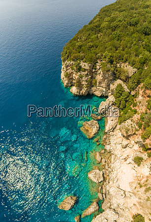 aerial view of mountain coast of