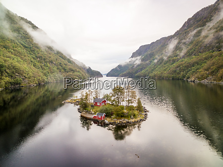aerial view of little house on