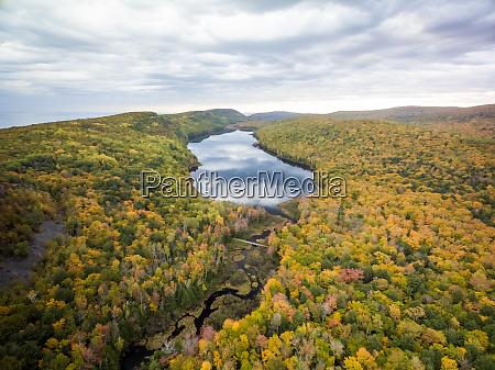 aerial view of carp river surrounding