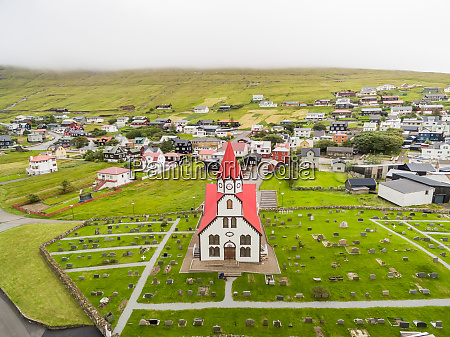 aerial view of colorful church at