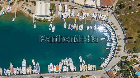 aerial view of many private boats
