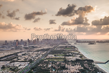 aerial view of the skyscrapers from