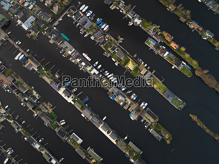 aerial view houses and small harbour