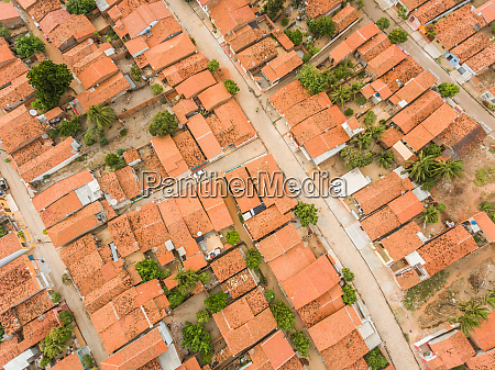 aerial view of rooftops and small